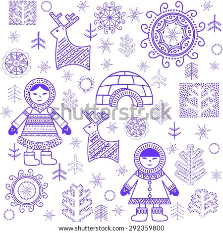 Winter abstract wallpaper with Eskimo and igloo - stock photo