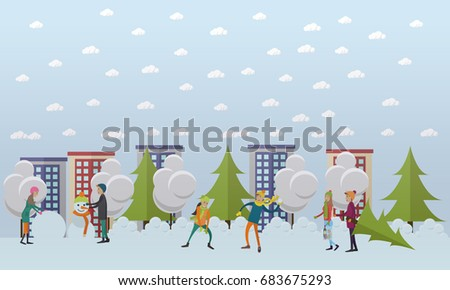 Winter Activities, Christmas Time Concept Illustration In Flat Style. Snowy  Street, City Life