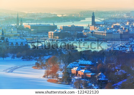 Winter aerial scenery of the Old Town (Gamla Stan) in Stockholm, Sweden - stock photo