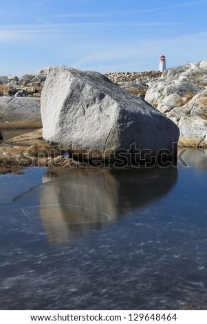 Winter along an isolated rocky coastline - stock photo