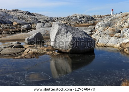 Winter along an isolated rocky coastline