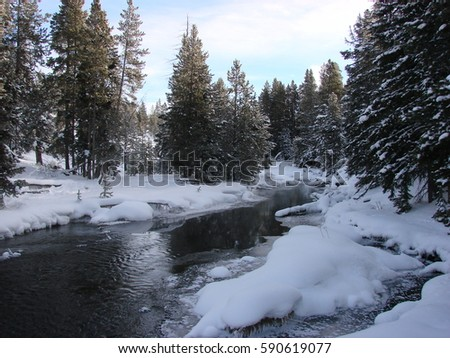 Winter along the Fire-hole river in Yellowstone National Park.