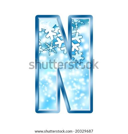 Winter Alphabet Letter N - stock photo
