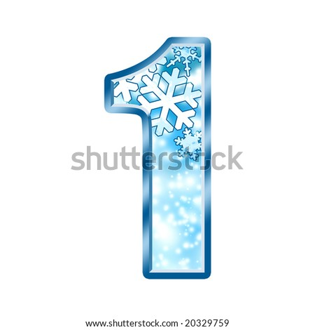 Winter Alphabet Number 1 one - stock photo