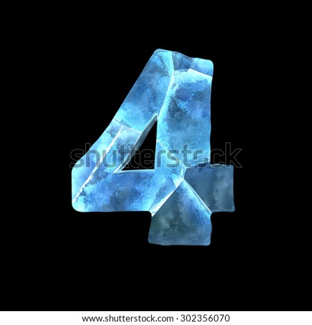 Winter alphabet on dark background (number 4) - stock photo