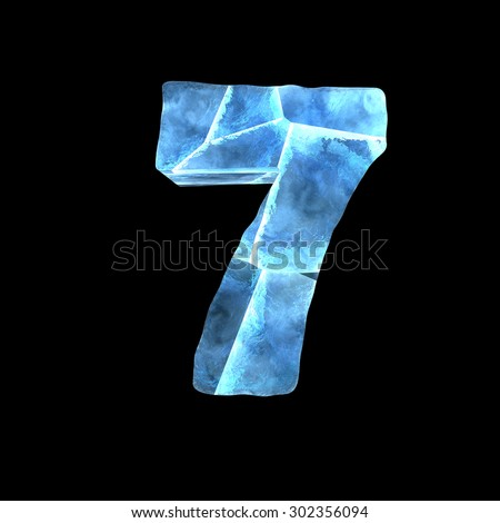 Winter alphabet on dark background (number 7) - stock photo