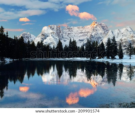 Winter alpine landscape in the Dolomites, Italy, Europe - stock photo