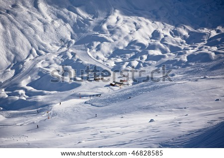 Winter Alps landscape from ski resort. France