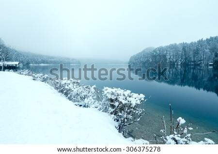 Winter Alpsee lake misty view (Bavaria, Germany) - stock photo