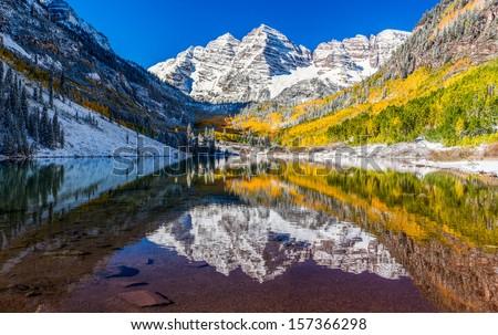 Winter and Fall foliage at Maroon Bells, Colorado - stock photo