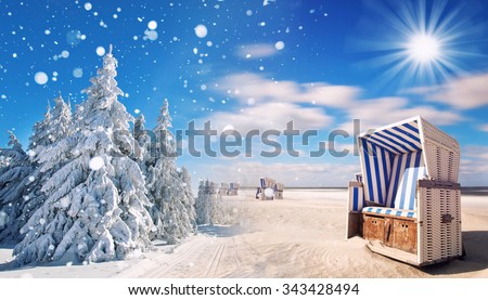 winter and summer changing season, weather concept with snow and beach, time change in the world