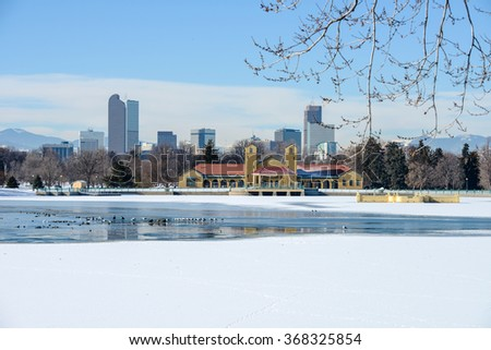 Winter at City Park - A white winter scene in a city park at east-side of Downtown Denver, Colorado, USA. - stock photo
