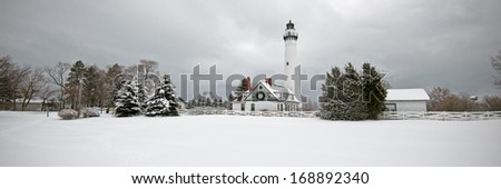 Winter at Wind Point Lighthouse near Racine, Wisconsin. - stock photo