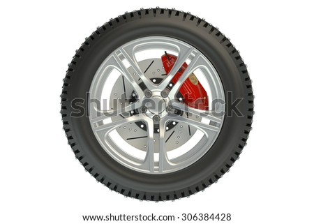 winter automotive tire isolated on white background - stock photo
