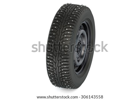 winter automotive tyre with studs isolated on white background