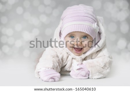 Winter baby girl - stock photo