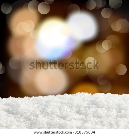 Winter background.Abstract bokeh lights and snowdrift - stock photo