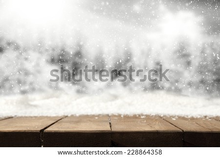 winter background of landscape and snow and table  - stock photo