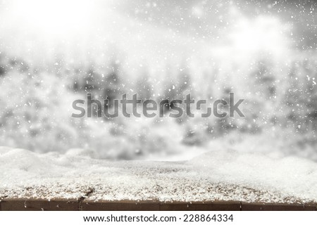 winter background of landscape and white xmas snow and desk  - stock photo