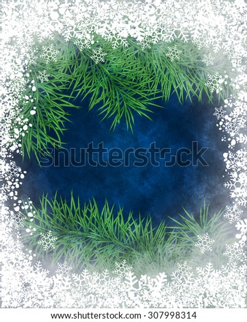 Winter background of pine branch through the frozen window. Raster version - stock photo