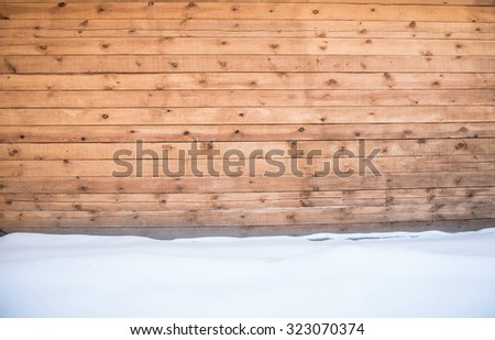 winter background of Snow drift on new fresh wood boards with blank space - stock photo