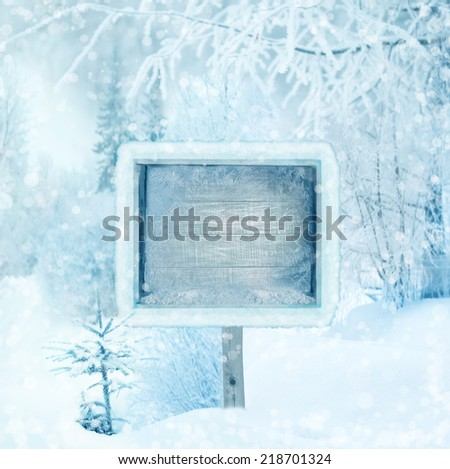 Winter background, scene, landscape. Wooden sign in the winter forest. winter wonderland. Winter trees in snow. Space for winter text. Christmas and new year design. - stock photo