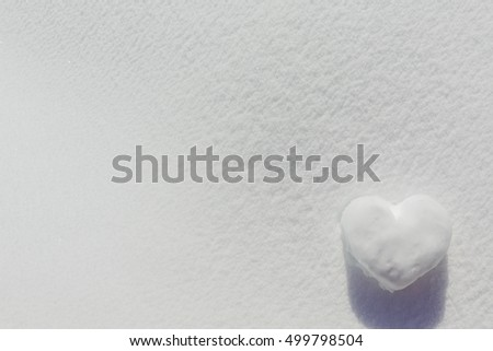 Winter background, Snow heart - space for text