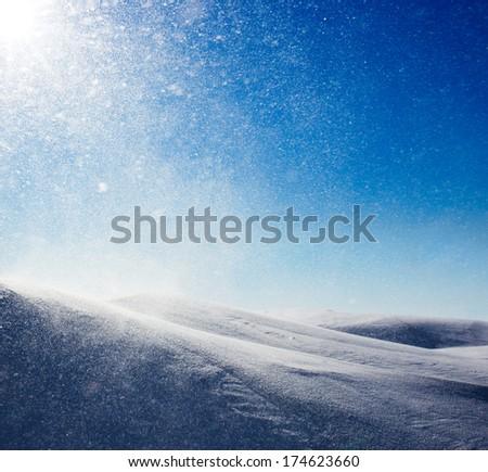 Winter background, snowstorm   - stock photo
