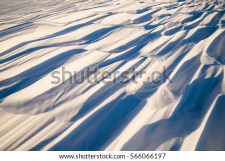 Winter background. Winter bright landscape with snowdrifts