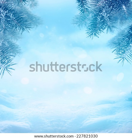 Winter background. Winter snow landscape with snow flakes - stock photo