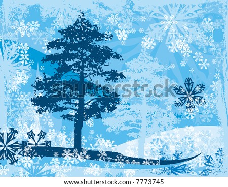 Winter background with a pine tree and snowflakes.