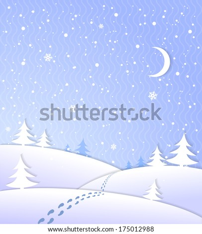 Winter background with falling snow footprints moon and forest  illustration