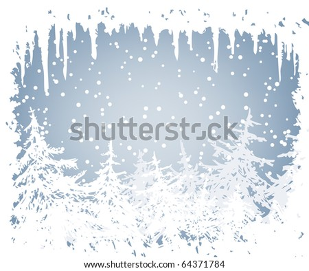 winter background with frame of icicles