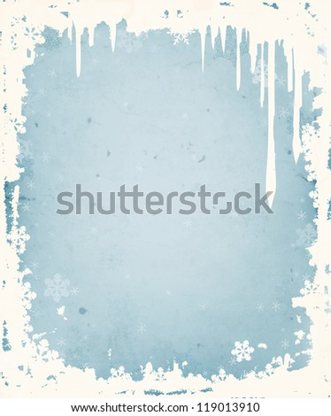 Winter background with frame of icicles and snowflakes - stock photo