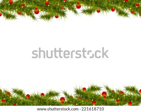 winter  background with  isolated branches of Christmas tree - stock photo