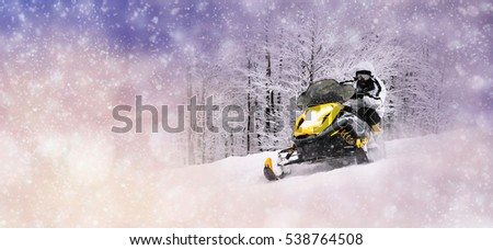 Winter background with man on snowmobile. Christmas concept