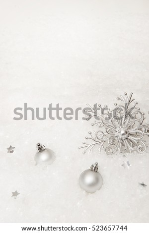 Winter background with snowflakes, Christmas decorations
