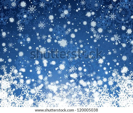 Winter background with snowflakes elements. Raster version. - stock photo
