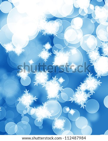 Winter background with some soft highlights and snow flakes - stock photo