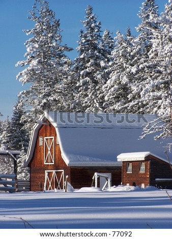 Winter Barn - stock photo