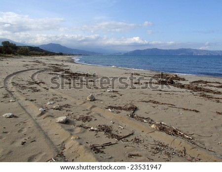 Winter Beach in Greece - stock photo