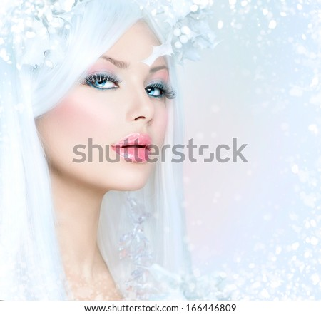 Winter Beauty Beautiful Fashion Model Girl With Snow Hair Style And Make Up Holiday