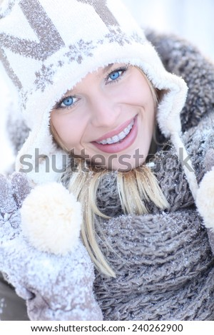 Winter beauty. Beautiful, young and smiling girl - stock photo