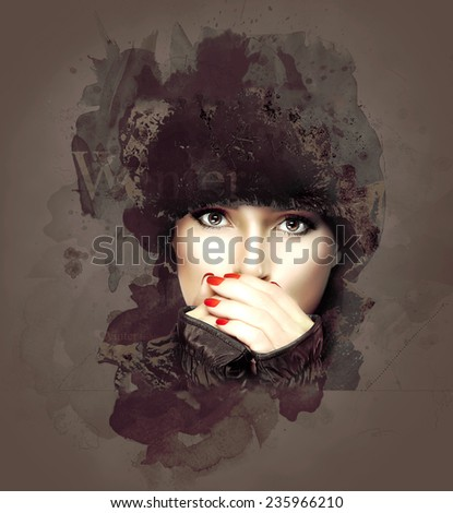 Winter beauty fashion. Close up Gorgeous Young Woman in Winter Outfit Covering her Mouth While Looking at the Camera on Abstract Brown Background