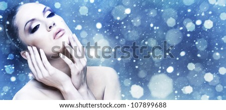Winter Beauty. Female abstract stylish portrait. - stock photo