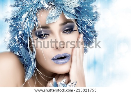 Winter Beauty Makeup Beautiful Christmas Girl With Holiday And Fancy Hairstyle Fashion Woman