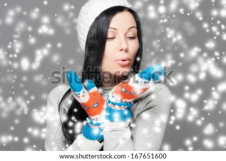 Winter Beauty Woman. Christmas Girl Concept. Holiday Fashion Portrait. - stock photo