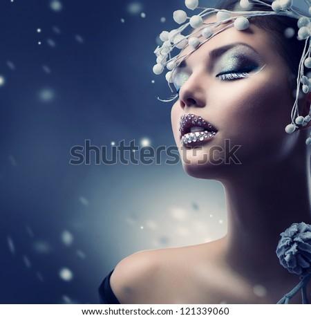 Winter Beauty Woman. Christmas Girl Makeup.Make-up - stock photo