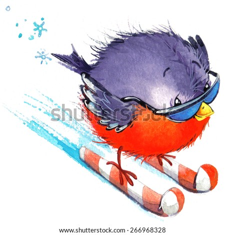 Winter bird and Christmas toy. watercolor illustration - stock photo
