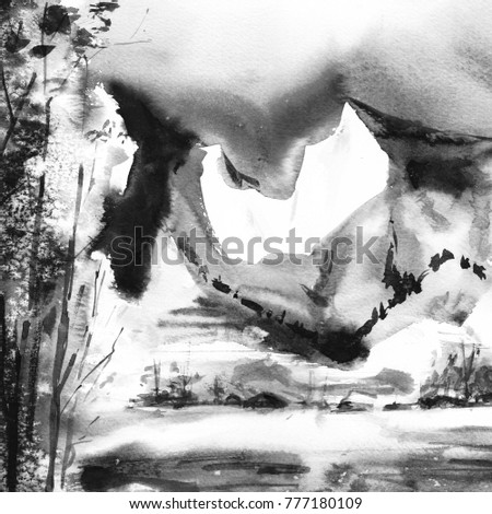 Winter Black And White Mountain Forest Landscape Watercolor Grisaille Painting Nature Monochrome Background